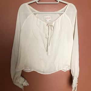 STONE COLD FOX WHITE SHEER BLOUSE WITH LACE CUFFS